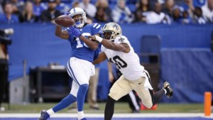 INDIANAPOLIS, IN - OCTOBER 25:  Delvin Breaux #40 of the New Orleans Saints defends a pass in the end zone against T.Y. Hilton #13 of the Indianapolis Colts in the second half of the game at Lucas Oil Stadium on October 25, 2015 in Indianapolis, Indiana. The Saints defeated the Colts 27-21. (Photo by Joe Robbins/Getty Images)