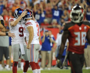 TAMPA, FL - NOVEMBER 8: Punter Brad Wing #9 of the New York Giants congratulates kicker kicker Josh Brown #3 of the New York Giants after a field goal in the fourth quarter at Raymond James Stadium on November 8, 2015 in Tampa, Florida. (Photo by Cliff McBride/Getty Images) *** Local Caption ***Brad Wing;Josh Brown