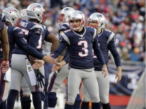 New England Patriots kicker Stephen Gostkowski (3) is congratulated after kicking a field goal against the Tennessee Titans in the second half of an NFL football game, Sunday, Dec. 20, 2015, in Foxborough, Mass. (AP Photo/Steven Senne)